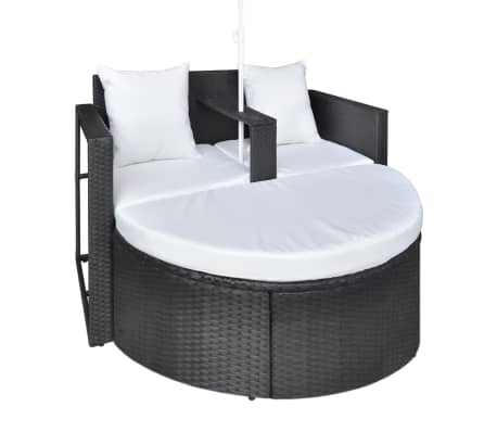 vidaXL Garden Bed with Parasol Black Poly Rattan[6/8]