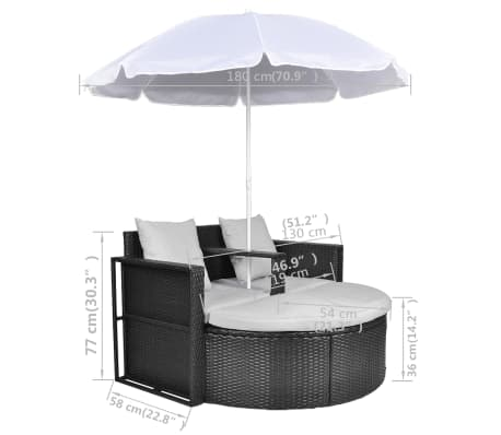 Black Garden Poly Rattan Lounge Set with Parasol Outdoor[8/8]