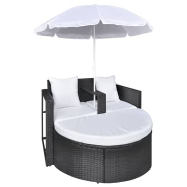 Black Garden Poly Rattan Lounge Set with Parasol Outdoor[4/8]