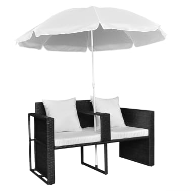 vidaXL Garden Bed with Parasol Black Poly Rattan[5/8]