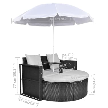 vidaXL Garden Bed with Parasol Black Poly Rattan[8/8]