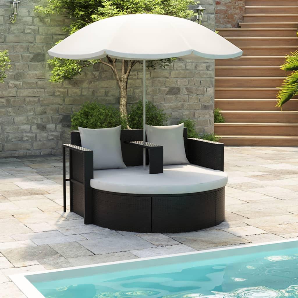 vidaXL Zahradní postel se slunečníkem černá polyratan