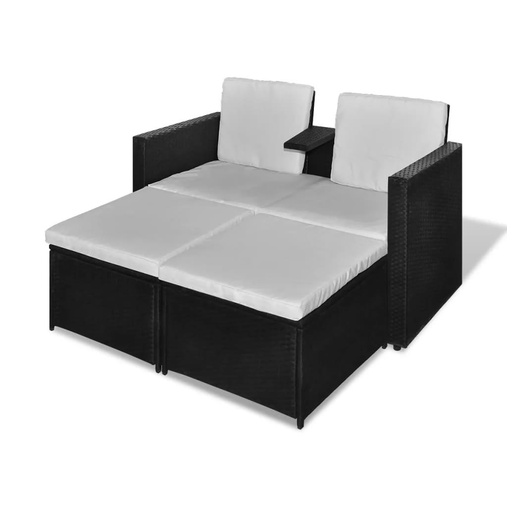 vidaXL Zahradní nábytek sedací souprava, 8 kusů, polyratan černý