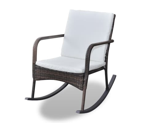 vidaXL Rocking Garden Chair with Cushion and Pillow Poly Rattan Brown[2/4]