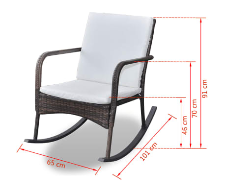vidaXL Rocking Garden Chair with Cushion and Pillow Poly Rattan Brown[4/4]