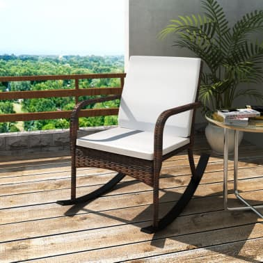 vidaXL Rocking Garden Chair with Cushion and Pillow Poly Rattan Brown[1/4]
