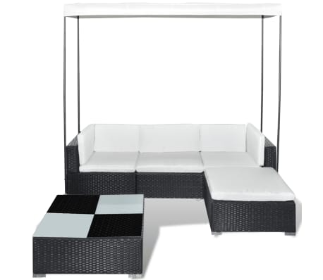 vidaxl garten sofagarnitur 14 tlg mit sonnendach poly rattan schwarz g nstig kaufen. Black Bedroom Furniture Sets. Home Design Ideas
