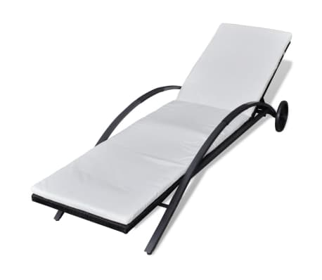 vidaXL Sun Lounger with Cushion Poly Rattan Black[2/6]