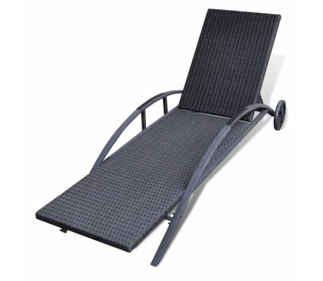 vidaXL Sun Lounger with Cushion Poly Rattan Black[5/6]