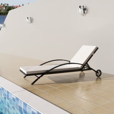 vidaXL Sun Lounger with Cushion Poly Rattan Black[1/6]