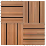 vidaXL WPC Tiles 30x30cm 11pcs 1m2 Brown