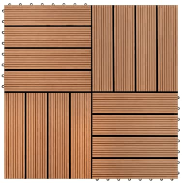 vidaXL WPC Tiles 30x30cm 11pcs 1m2 Brown[1/6]