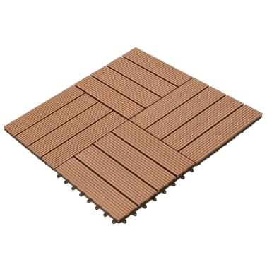 vidaXL WPC Tiles 30x30cm 11pcs 1m2 Brown[2/6]