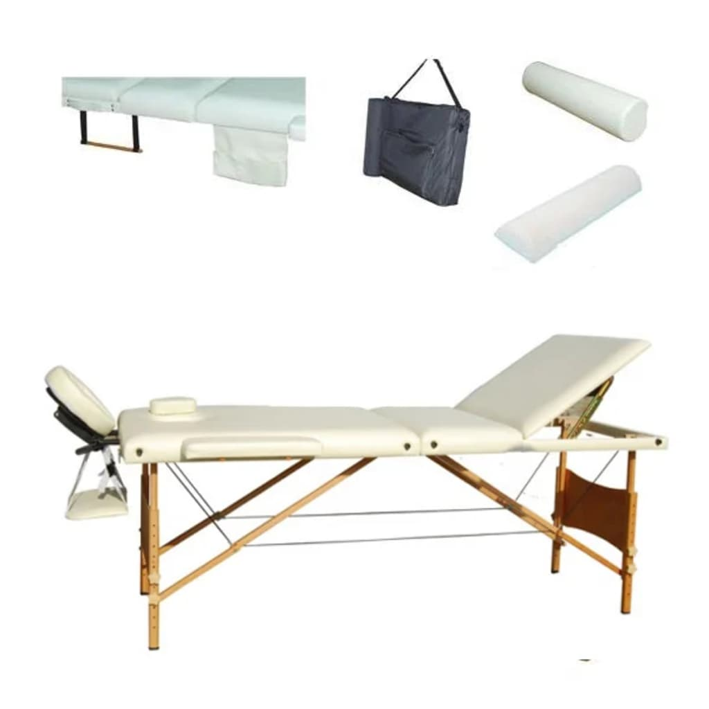 Masă masaj 3 secțiuni cadru lemn+ set accesorii, Crem vidaxl.ro