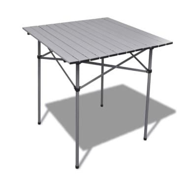 Aluminum Roll Slatted Top Foldable Camping Table Garden 70x70x70 Cm 1 7