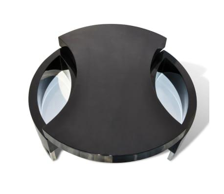 vidaXL Kavos staliukas, reguliuojamas, labai blizgus, juodas[4/6]
