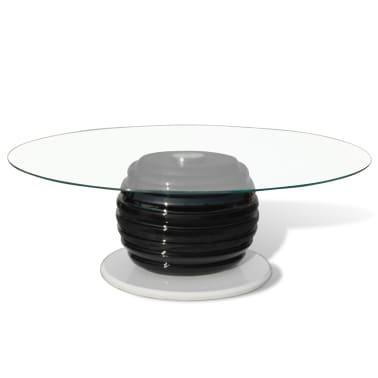 acheter vidaxl table basse fibre de verre avec plateau ovale en verre noir pas cher. Black Bedroom Furniture Sets. Home Design Ideas