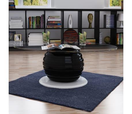 Vidaxl couchtisch fiberglas mit ovaler glasplatte schwarz g nstig kaufen - Couchtisch fiberglas ...