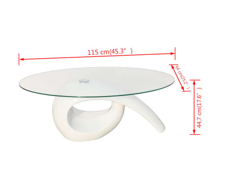 vidaXL Coffee Table with Oval Glass Top High Gloss White[4/4]