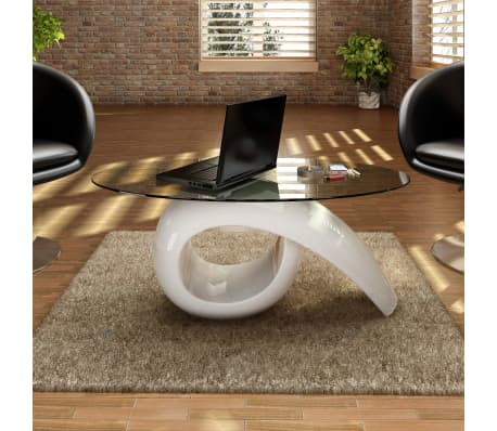 vidaXL Coffee Table with Oval Glass Top High Gloss White[1/4]