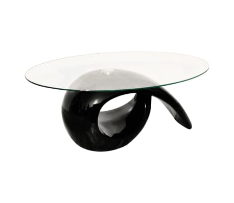 vidaXL Coffee Table with Oval Glass Top High Gloss Black[2/4]