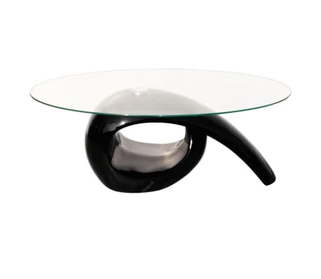 vidaXL Coffee Table with Oval Glass Top High Gloss Black[3/4]