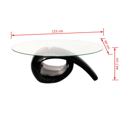 vidaXL Coffee Table with Oval Glass Top High Gloss Black[4/4]
