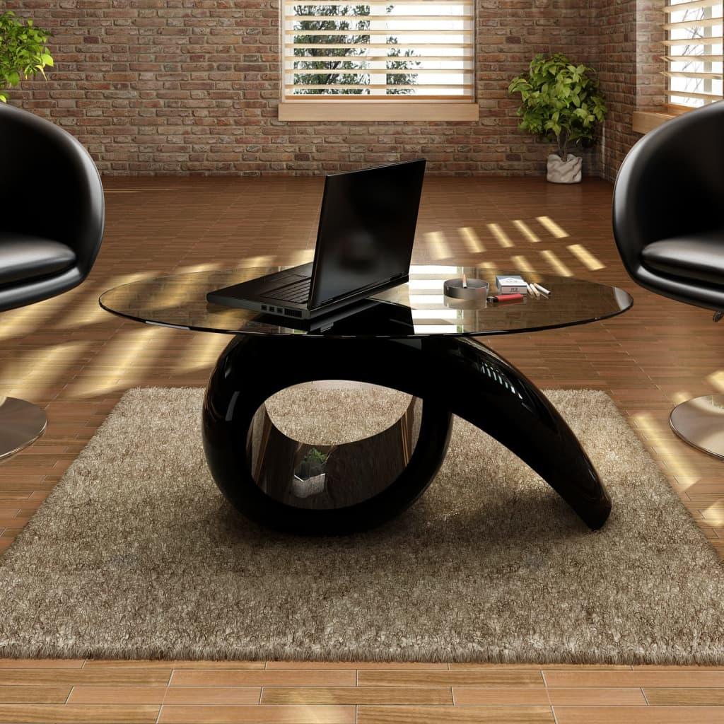 vidaXL Czarny stolik kawowy o owalnym, szklanym blacie, wysoki połysk