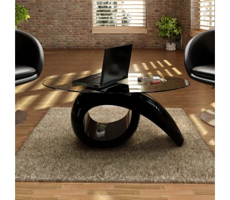 vidaXL Coffee Table with Oval Glass Top High Gloss Black[1/4]