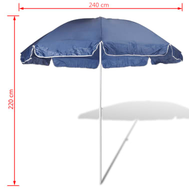 acheter 240cm parasol de plage bleu pas cher. Black Bedroom Furniture Sets. Home Design Ideas