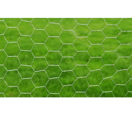 "vidaXL Chicken Wire Fence Galvanised Steel 82'x3' 3"" Silver[3/4]"