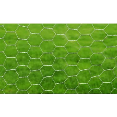 vidaXL Chicken Wire Fence Galvanised Steel 82