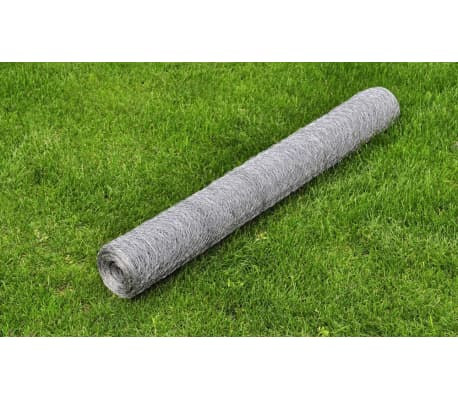 "vidaXL Chicken Wire Fence Galvanised Steel 82'x3' 3"" Silver[1/4]"