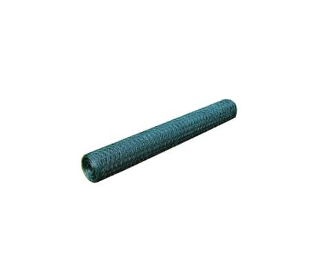 vidaXL Vielinis tinklas, žalias, 25x0,5m, cinkuotas ir dengtas PVC