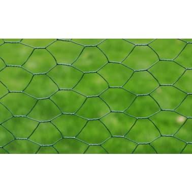 vidaXL hønsenet galvaniseret stål med PVC-belægning 25 x 1 m grøn[3/4]