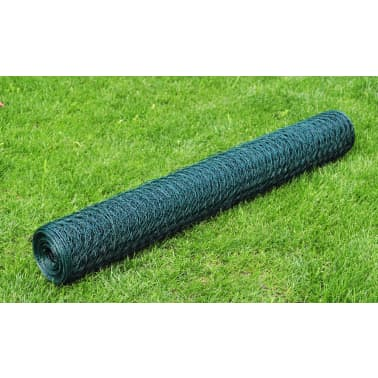 vidaXL hønsenet galvaniseret stål med PVC-belægning 25 x 1 m grøn[1/4]
