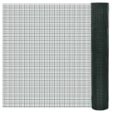 vidaXL Chicken Wire Fence Galvanised with PVC Coating 10x1 m Green