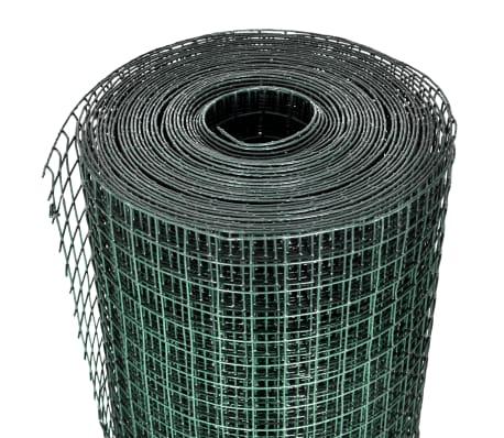 1x10m Rete recinzione acciaio galvanizzato maglia quadrata 12x12mm PVC[3/4]