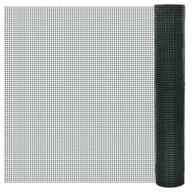 vidaXL Vielinis tinklas, žalias, 10x1m, cinkuotas ir dengtas PVC[1/4]