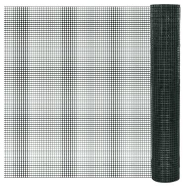 vidaXL Filet 1 m x 25 m Maille galvanisée et enduite de PVC 16 x 16 mm[1/4]