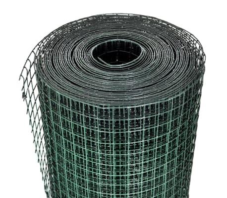 vidaXL Filet 1 m x 25 m Maille galvanisée et enduite de PVC 16 x 16 mm[3/4]