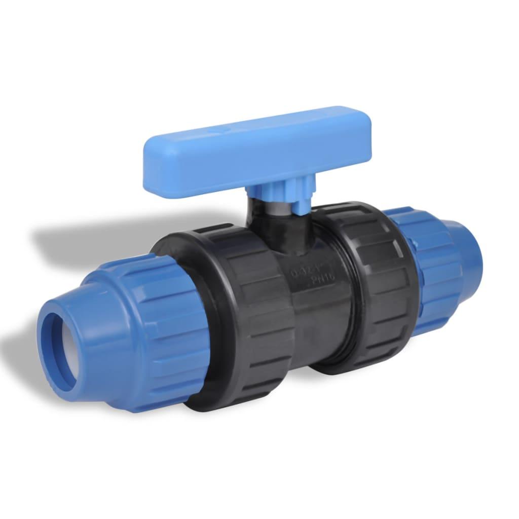 Afbeelding van vidaXL PE slangverbinding met kogelkraan koppeling 16 bar 32mm (2 stuks)