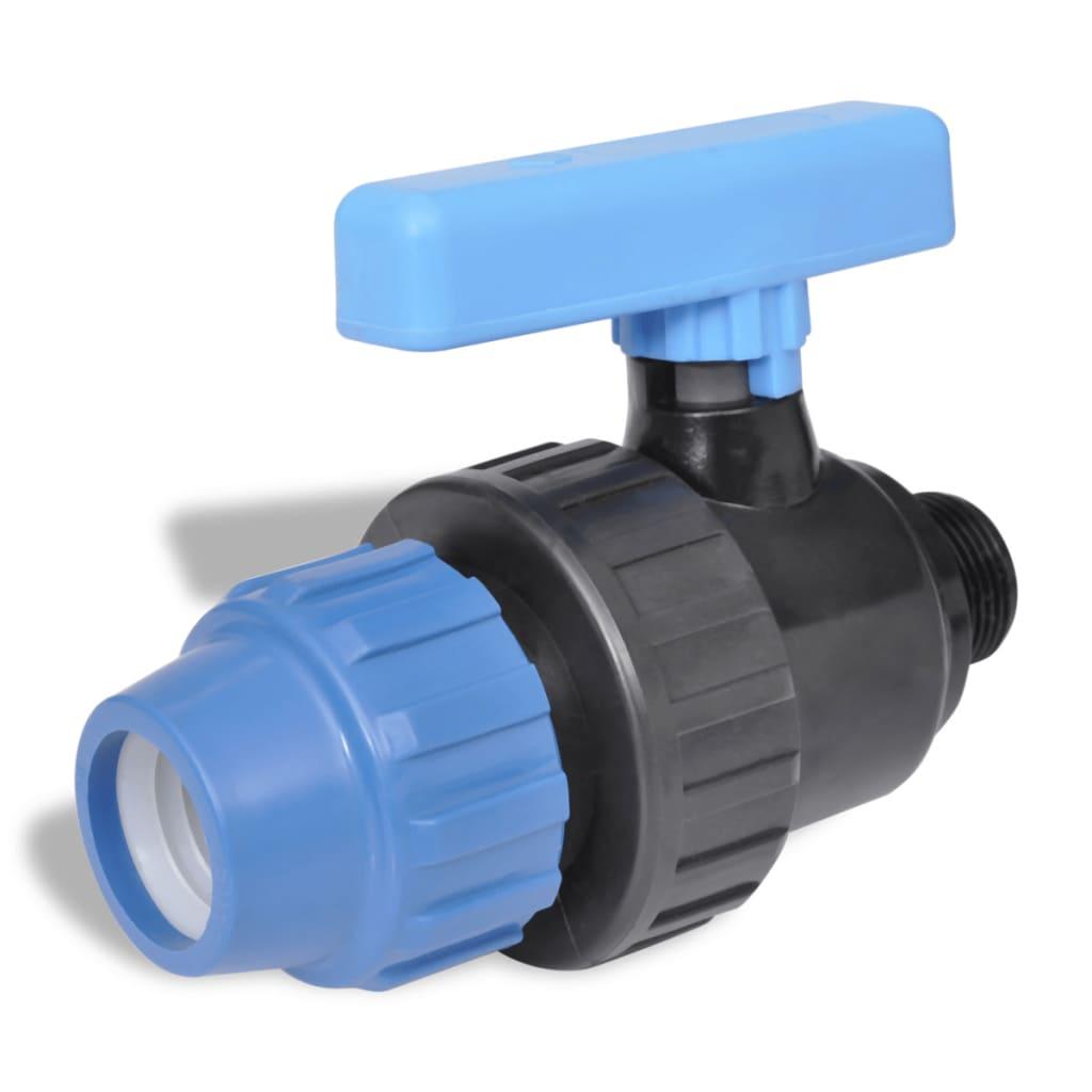 Afbeelding van vidaXL PE slangverbinding met kogelkraan kopp 16 bar 25mm tot 3/4 inch (2 st)
