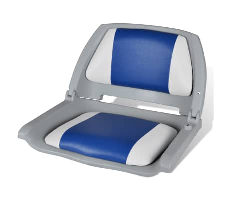 "Boat Seat Foldable Backrest with Blue-white Pillow 16.1""x20.1""x18.9""[1/4]"