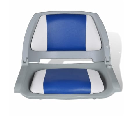 "Boat Seat Foldable Backrest with Blue-white Pillow 16.1""x20.1""x18.9""[2/4]"