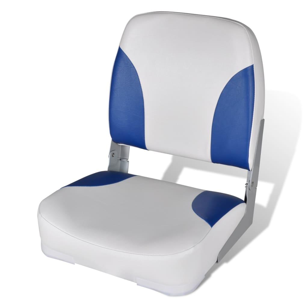 Sedadlo do člunu, sklopné opěradlo, modrobílý polštář, 41 x 36 x 48 cm