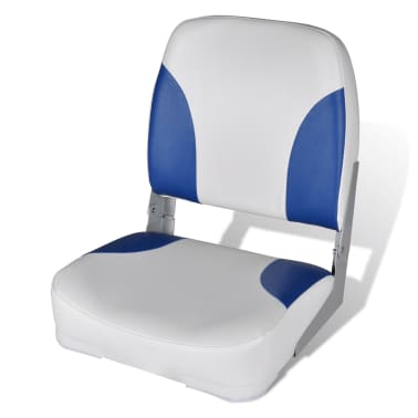 "Boat Seat Foldable Backrest with Blue-white Pillow 16.1""x14.2""x18.9""[1/4]"