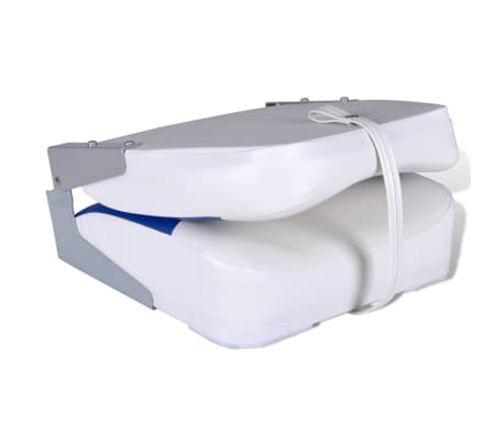 "Boat Seat Foldable Backrest with Blue-white Pillow 16.1""x14.2""x18.9""[3/4]"