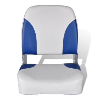 "Boat Seat Foldable Backrest with Blue-white Pillow 16.1""x14.2""x18.9""[2/4]"