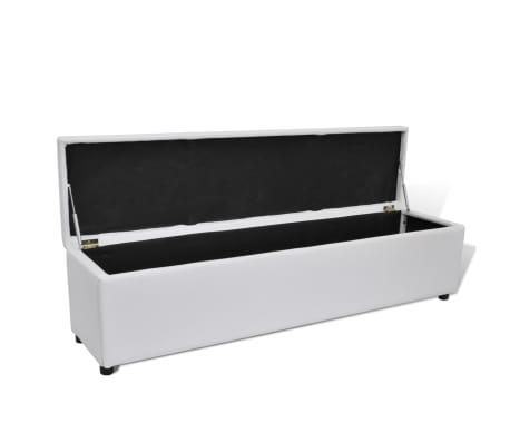 Banc Banquette Coffre De Rangement Blanc Taille Large Vidaxlfr